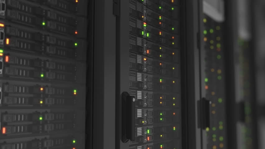 Flashing Lights on Working Servers Close-up in Modern Data Center. Cloud Computing Data Storage. Heavy 3d Rendering. Looped 3d animation. 4k Ultra HD 3840x2160. #34268947