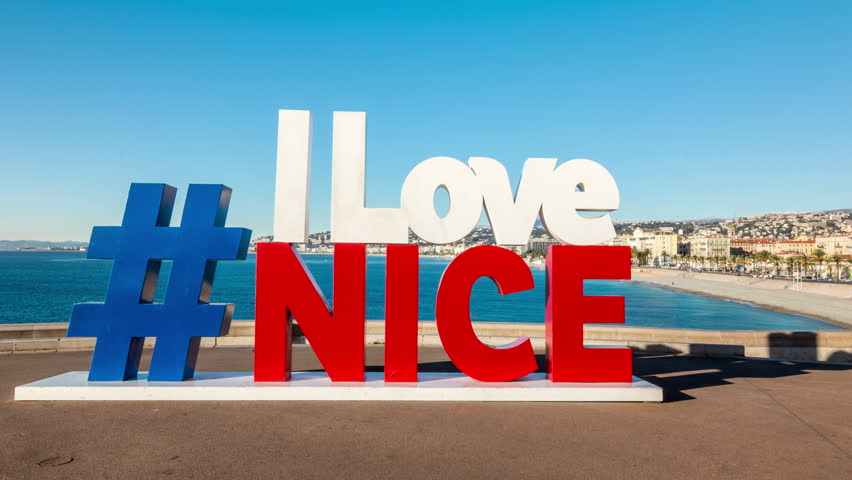 nice france circa 2017 i love nice sign in french national colors mediterranean sea coast. Black Bedroom Furniture Sets. Home Design Ideas