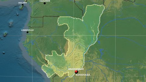 Zoom-in on Congo Brazzaville outlined on the globe. Capitals, administrative borders and graticule. Main physiographic features