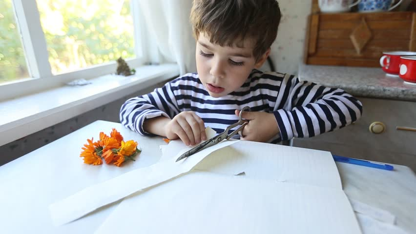 Concentrated 5 years boy cuts paper with scissors very passionately. He sticks out tongue