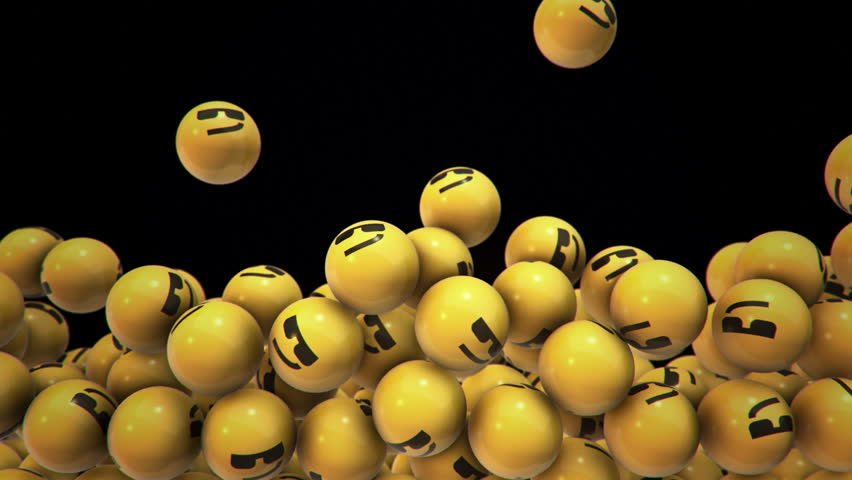 Animation of falling and filling screen yellow balls with different smiles of emoji. Animation of seamless loop.   Shutterstock HD Video #34315897