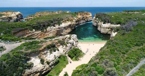 Flying over the famous Loch Ard Gorge Beach, Great Ocean Road, Twelve Apostels, Australia