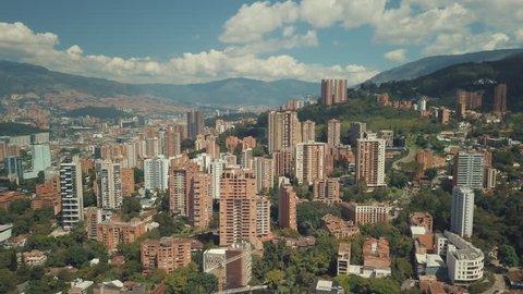 Aerial drone shot of Medellin, Bogota