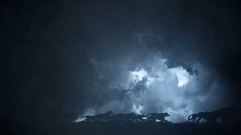 Big Pack of Wolves Running Through an Epic Lightning Storm