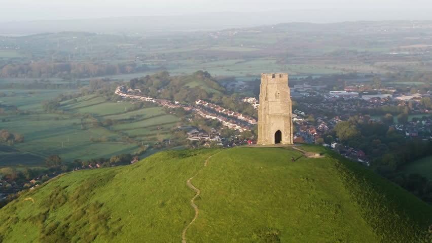 United Kingdom, England, Somerset, Glastonbury, St. Michael's Church Tower on Glastonbury Tor
