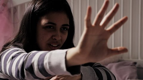 Stop the violence woman holding hand against violence and harassment concept