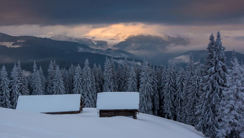 Majestic sunset in the mountains landscape. Carpathian, Ukraine. Time lapse,