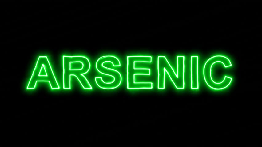 Neon flickering green Element of periodic table ARSENIC in the haze. Alpha channel Premultiplied - Matted with color black