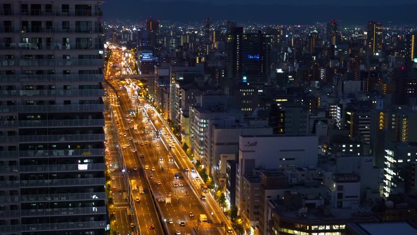 Large highway in Osaka, Japan at twilight | Shutterstock HD Video #34406107