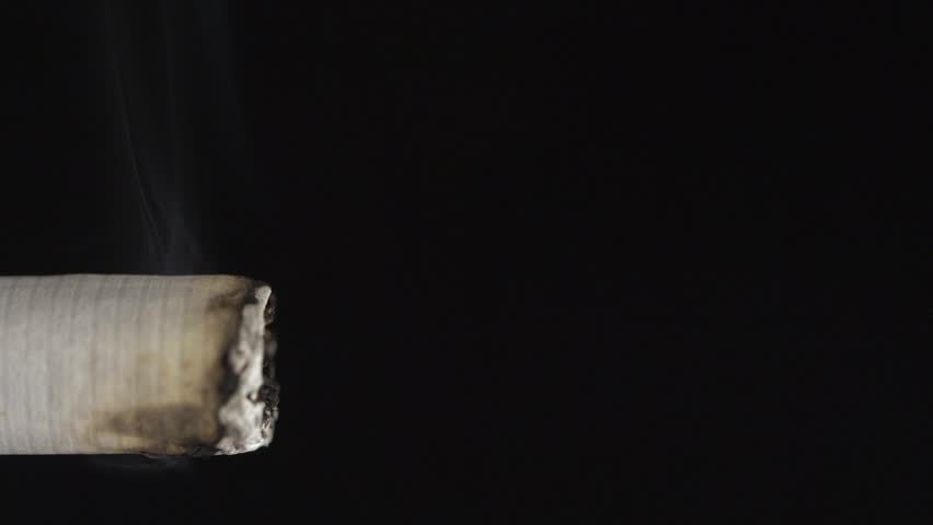 Macro view of burning cigarette with smoke on black. Close-up of a cigarette burning with smoke flowing up into the darkness
