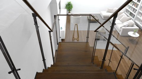 Large living room interior with staircase