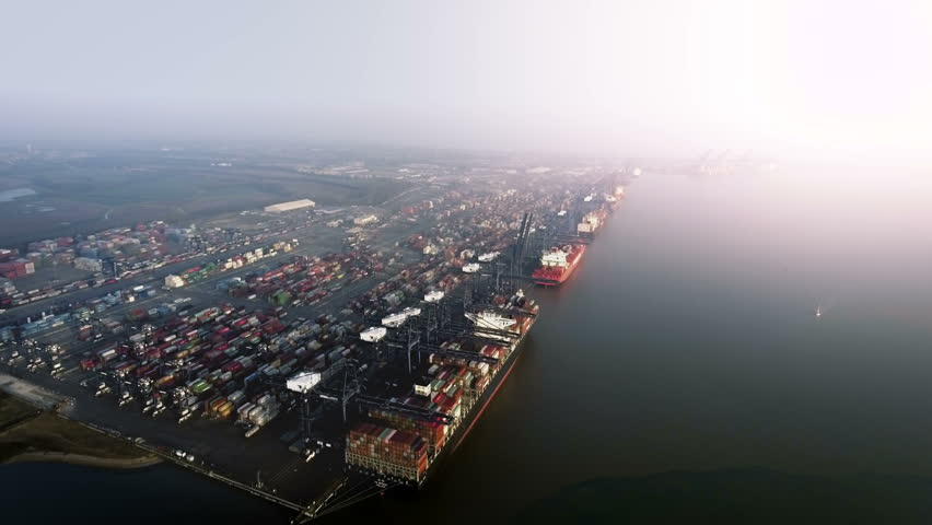 Huge Busy Port Unloading Container Ships, Aerial View