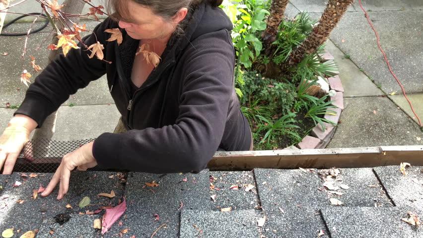 4K HD Video Of Older Female On A Ladder Installing Mesh Leaf Guard ...