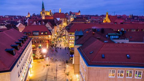 Nuremberg aerial night cityscape. Time lapse