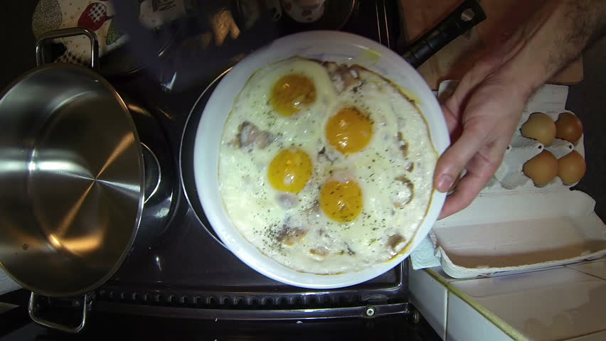 Fried Eggs and Bacon in a Pan.