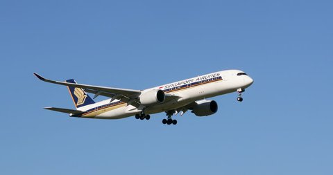 Melbourne, Australia - January 1, 2018: Singapore Airlines Airbus A350 aircraft 9V-SMK on approach to land at Melbourne International Airport, Melbourne Australia.