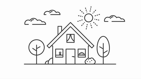 house in flat line icon design animated drawing