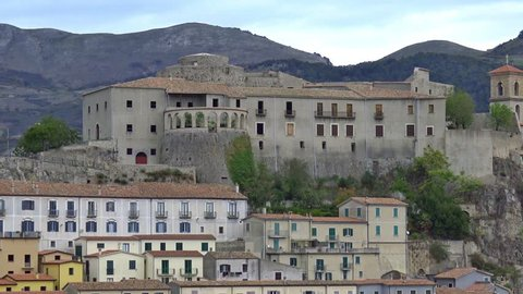 4K Italy, Basilicata region, Muro Lucano, view of  the ancient village. It is a real jewel set on the rock 600 meters above sea level.