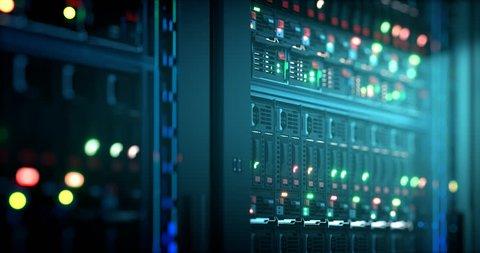 Servers close up. Server. Modern data center. Cloud computing. Mining farm. Loopable seamless animation.4k UHD. Data storage 3d rendering.