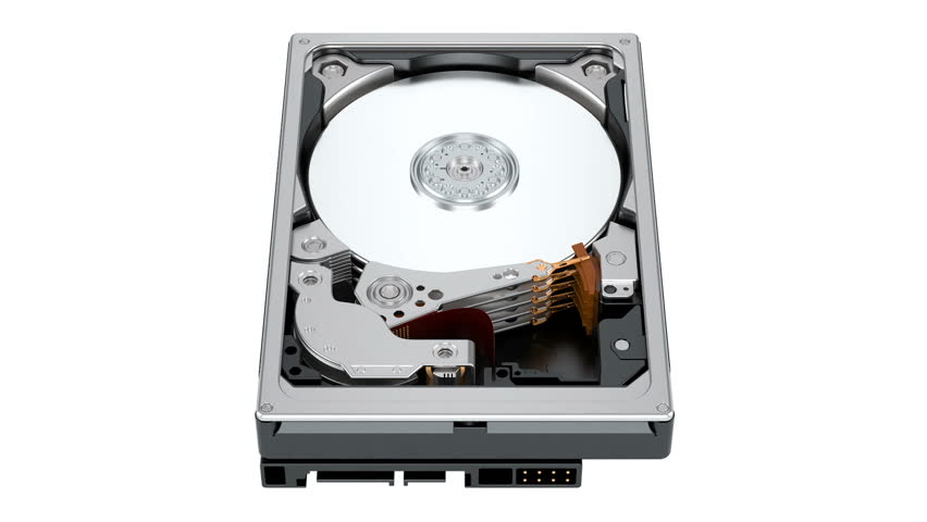 Working Hard Disk Drive (HDD). 3D rendering isolated on white background