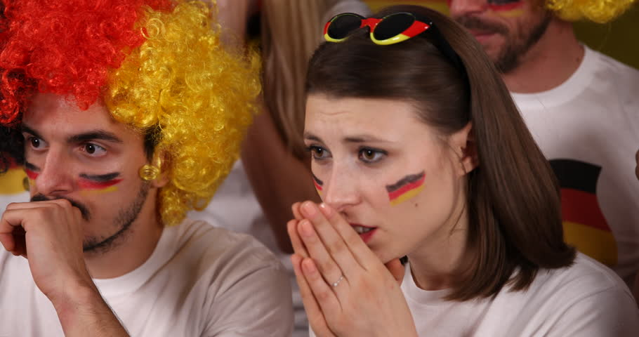 Crowd of People German Supporters Unhappy Moment Upset Looser Failure for Team