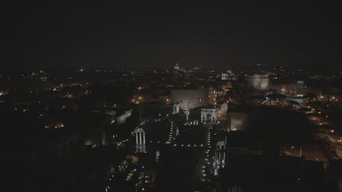 Aerial drone footage view of Rome Italy by night // no video editing