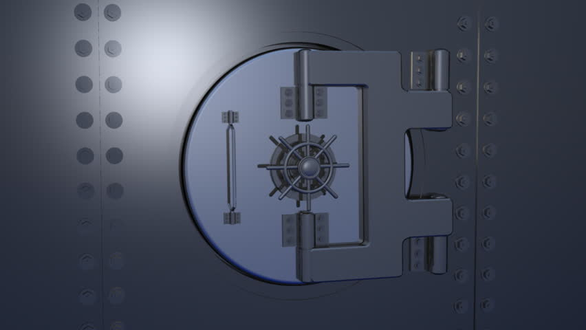 Computer-generated 3D animation depicting a gold Euro symbol inside a bank vault (concept: wealth)