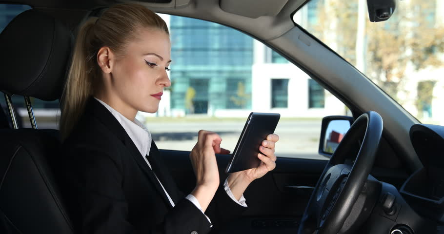 Driver Business Woman Use Digital Tablet Analyze Work Inside Luxury Car Stopped