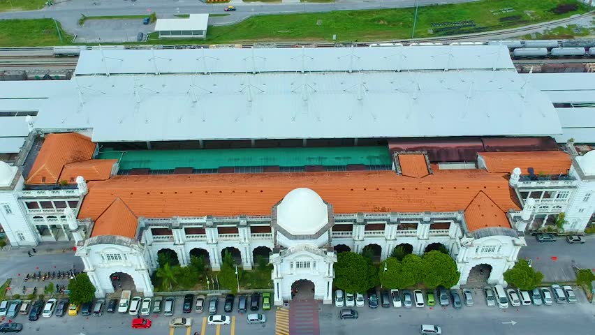 Aerial footage of a railway station at Ipoh, in the town of Ipoh, in the state of Perak, Malaysia.