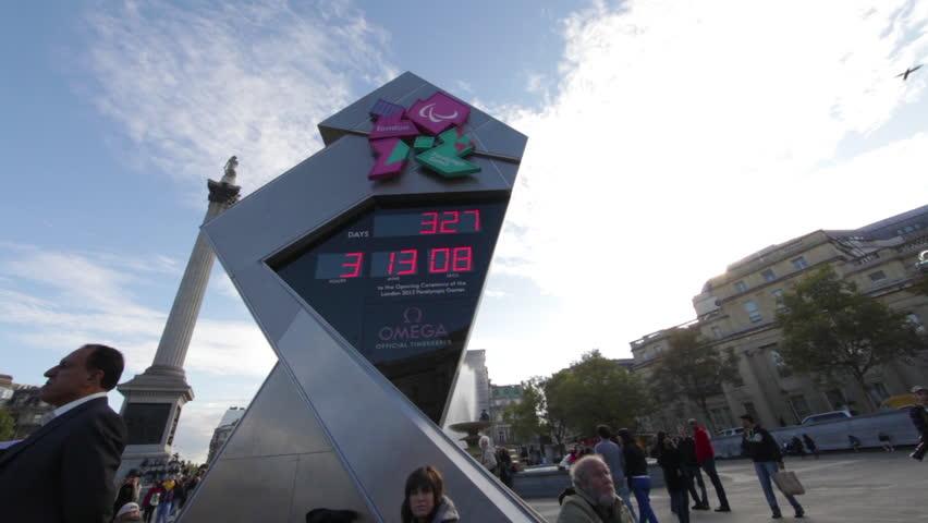 LONDON - OCTOBER 7, 2011: Olympic clock at Trafalgar Square
