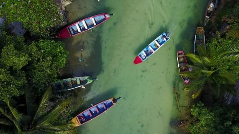Aerial of fishing boats on White River, Ocho Rios, Jamaica