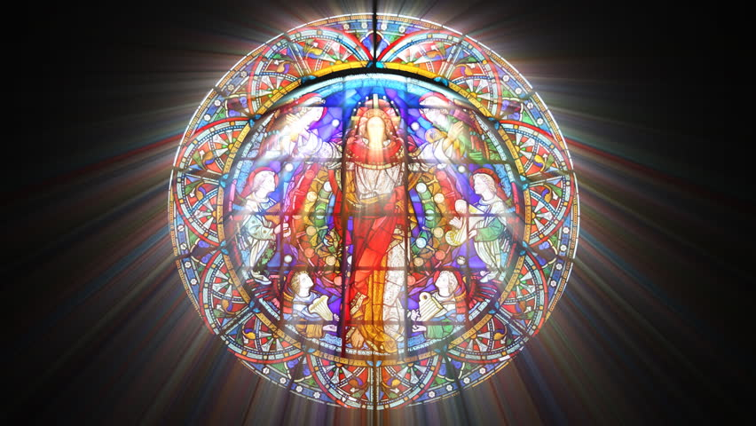 Stained Glass Jesus with light rays (Loop)