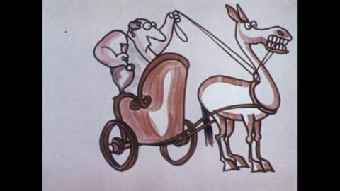 1970s: Cartoon man sits in chariot, holds reins and jug, horse takes off. Man drinks from jug, heads towards barricade and man with pickaxe, pulls reins to slow down, drinks more.