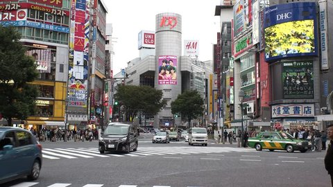 Japan Tokyo Shibuya  Scramble crossing area  October 2017