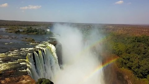 Victoria falls rainbow Zimbabwe - aerial view helicopter - HD - 50Hz