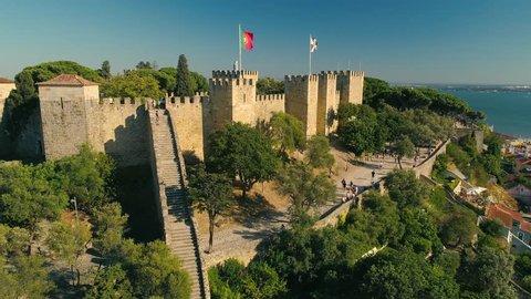 Lisbon, Portugal 4K Aerial video Lisbon Castle - The Castelo de Sao Jorge drone panorama view