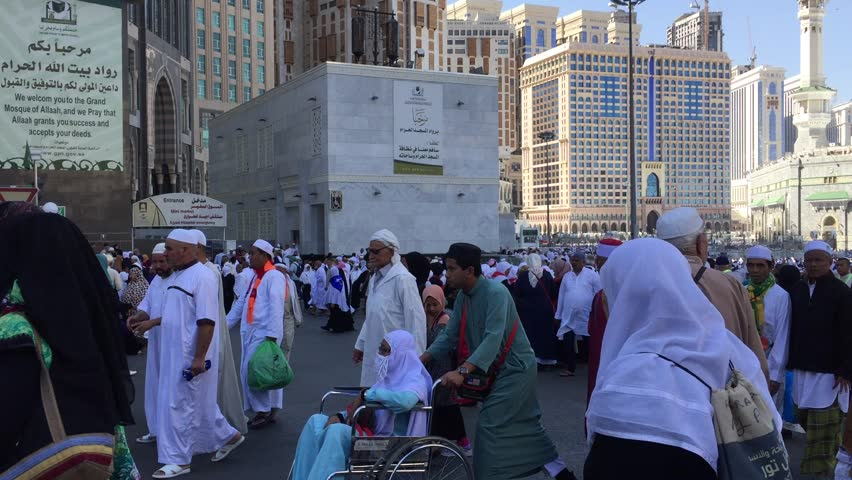 MECCA,SAUDI ARABIA-DECEMBER 23 2017:People walk out from Masjidil Haram after performing prayer