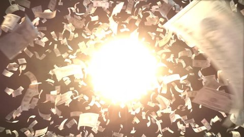 Explosion of 100$ 50$ 20$ bills with bright sphere for your various money related projects