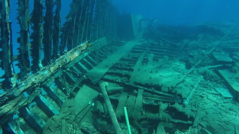 Old wrecked ship sunken in the Red Sea