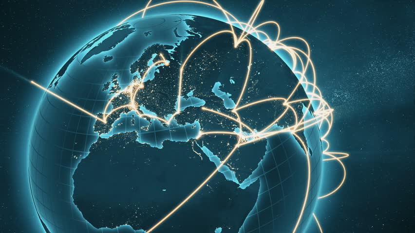 3d animation of a growing network across the world. Abstract global business network concept. New and improved 4K blue and orange version  | Shutterstock HD Video #34874707