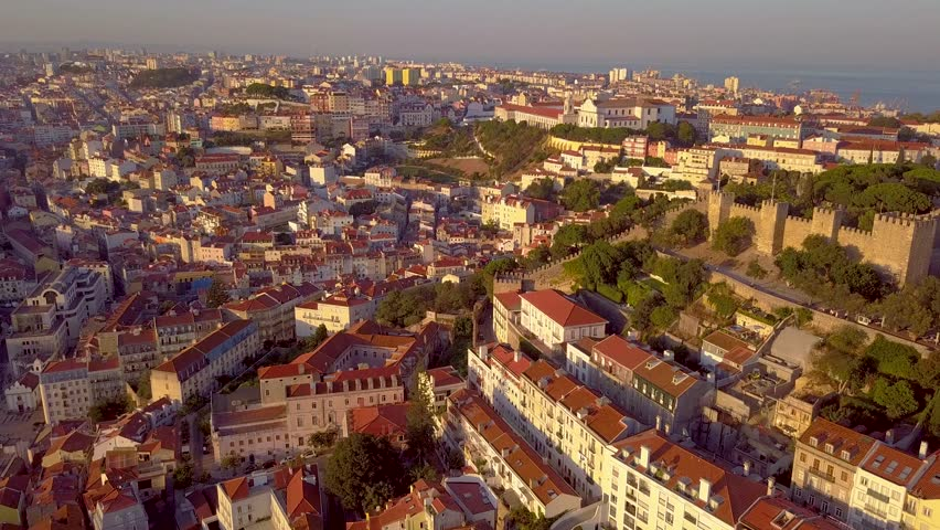 Lisbon Portugal Aerial timelapse dronelapse Old downtown Summer Sunset sky Lisboa Panorama of the city Yellow | Shutterstock HD Video #34901527