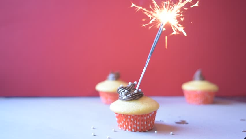 Anniversary Cupcakes With Party Fireworks Stock Footage Video