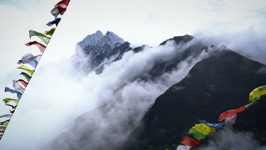 Prayer Flags on Himalayan Mountain Sky, Everest Base Camp Trek From Namche Bazaar to Tengboche , Nepal | Shutterstock HD Video #34948237