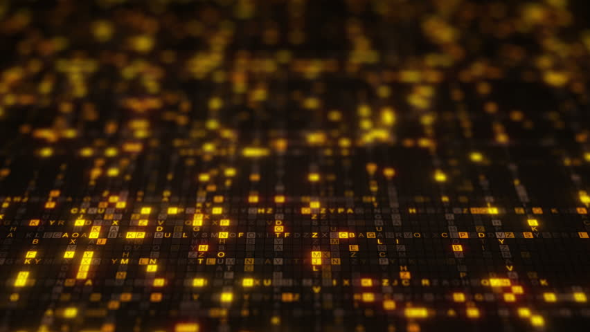 Yellow random ABC letters. Big data concept. Seamless loop dolly shot animation rendered with DOF 4k (4096x2304)
