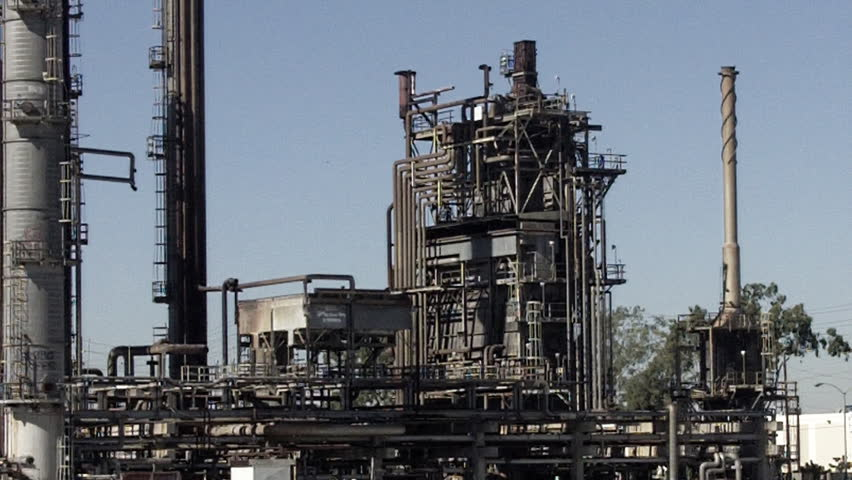 SANTA FE SPRINGS, CA - February 23, 2013: An aging oil refining tower at an old refinery circa 2013 in Santa Fe Springs. California frequently has higher gas prices due to its aging oil refineries.