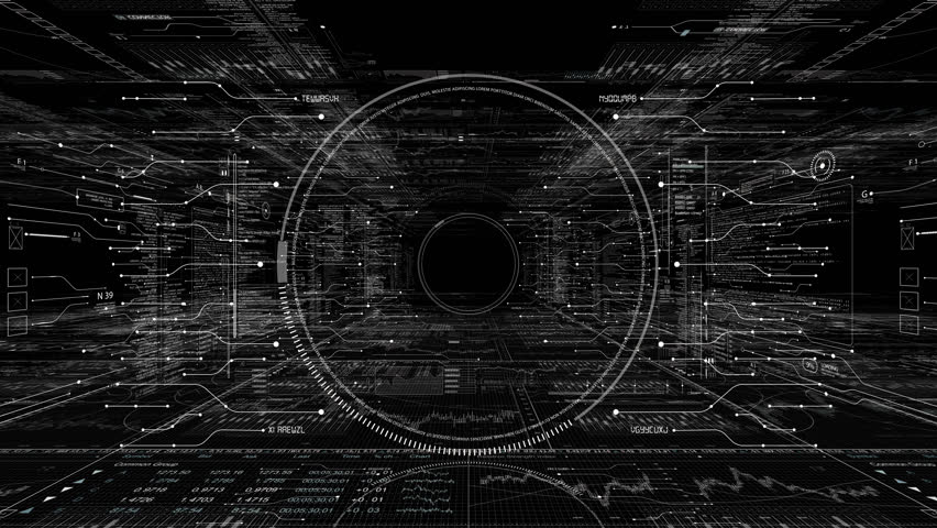 PNG Alpha.HUD technological intro.Flying through digital HUD target in sci fi cyber space.Techno background.Futuristic interface with running code text.Good for tech titles, news headline.Type 1 | Shutterstock HD Video #35014207