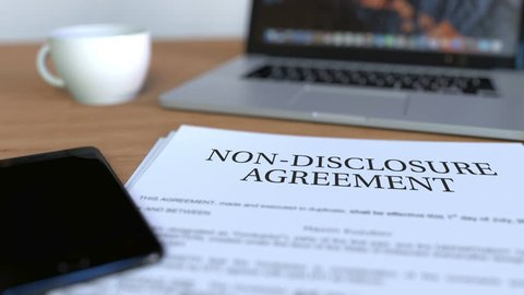 Copy of non-disclosure agreement on the desk