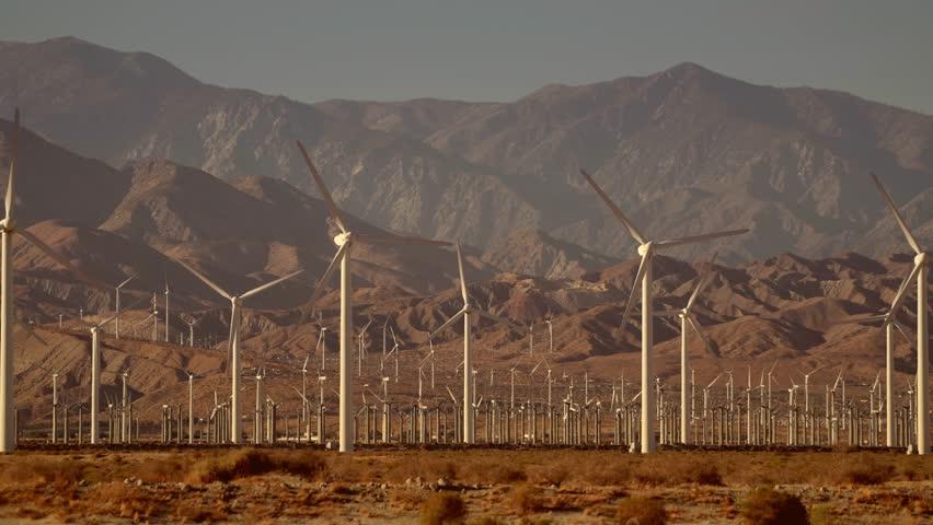 Mountains Based Renewable Energy Power Plant. Wind Energy. Coachella Valley, California, United States of America.