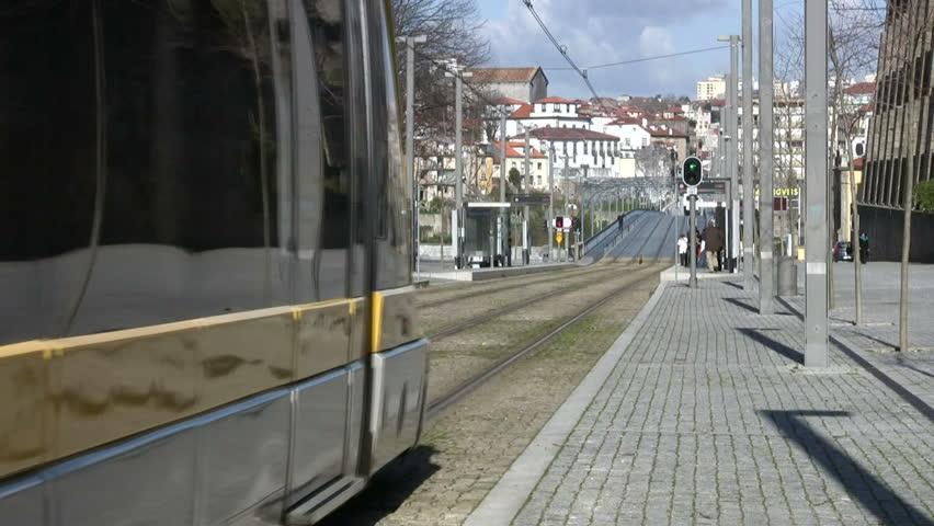 Public transportation. Electric train in Porto (Portugal)