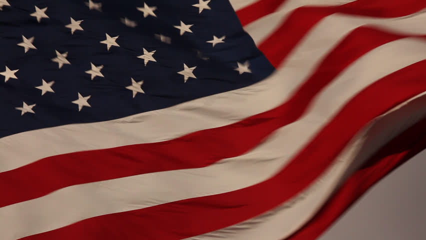 Elegant Nylon American Flag Waving in the Wind.